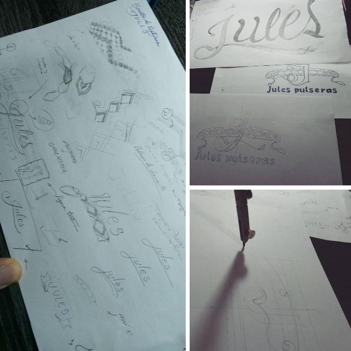 Fotos del proceso creativo del diseño artesanal logo.